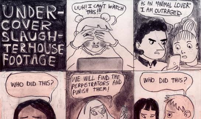 'Undercover Slaughterhouse Footage,' Today's Comic by Valentine Gallardo