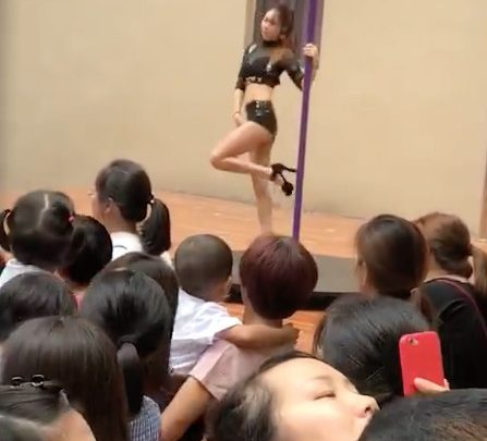 Kindergarten Welcomes Kids Back to School with a Professional Pole Dancer