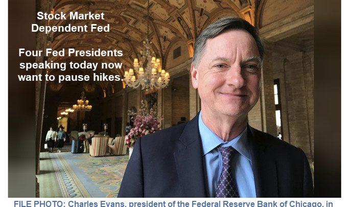 Stock Market Dependent Fed: Four Fed Presidents Speak in Favor of Pausing Hikes