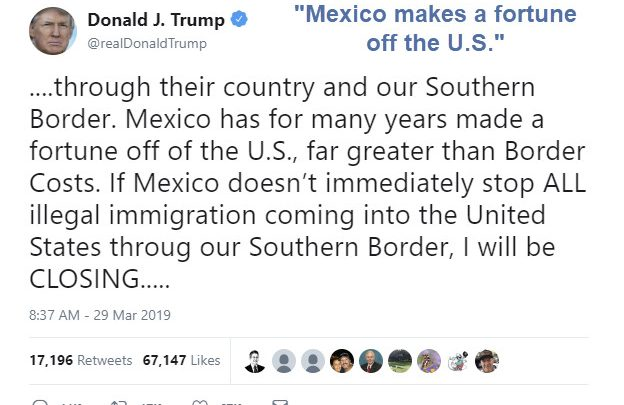 Trump Threatens to Close Entire Mexican Border: Instant Recession If Carried Out