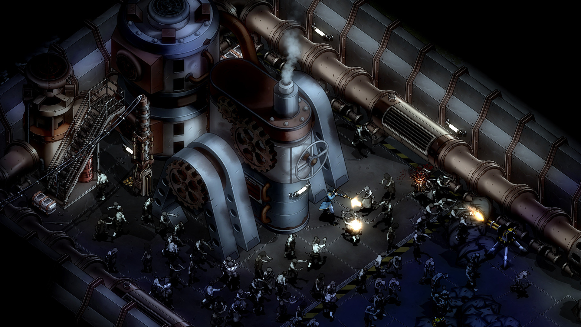 A hero character fights off waves of zombies at the base of some kind of large, sinister looking metal engine of unknown purpose