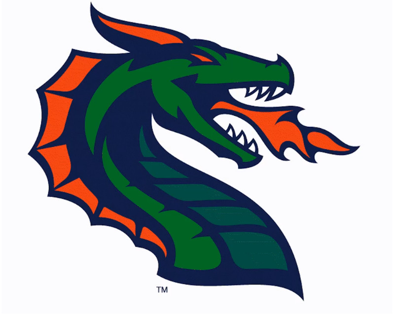 XFL Logo for the Seattle Dragons, a stylized green dragon with orange horns and frill, spewing orange fire.