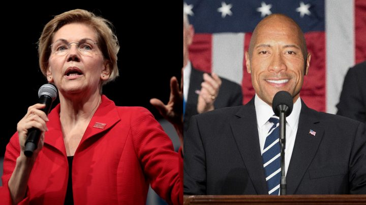 Elizabeth Warren Says She Would 'Welcome' the Rock's President Bid
