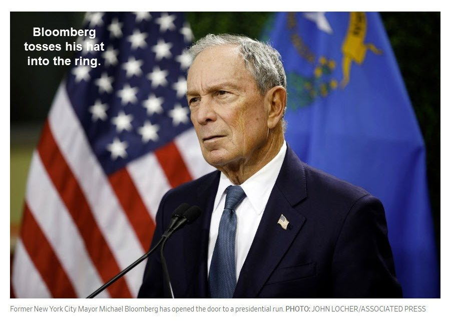 Bloomberg Enters the 2020 Democrat Election Campaign
