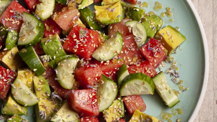 Watermelon, Avocado, and Cucumber Salad with Lemon and Sesame Dressing Recipe