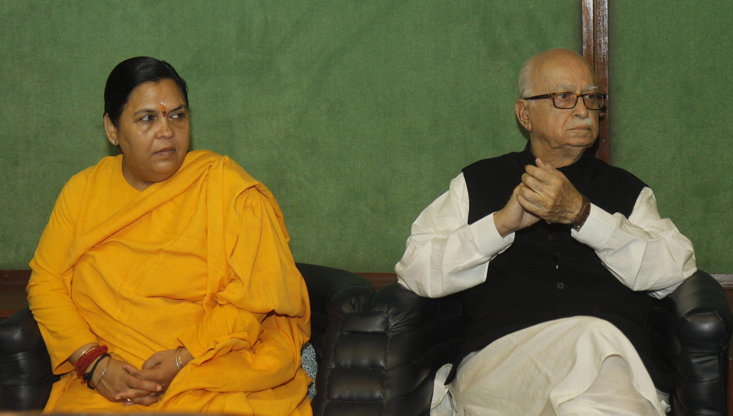BJP leaders L K Advani and Uma Bharti